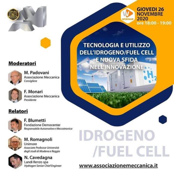 26 Novembre – Tecnologia e utilizzo dell'idrogeno/Fuel Cell e nuova sfida nell'innovazione